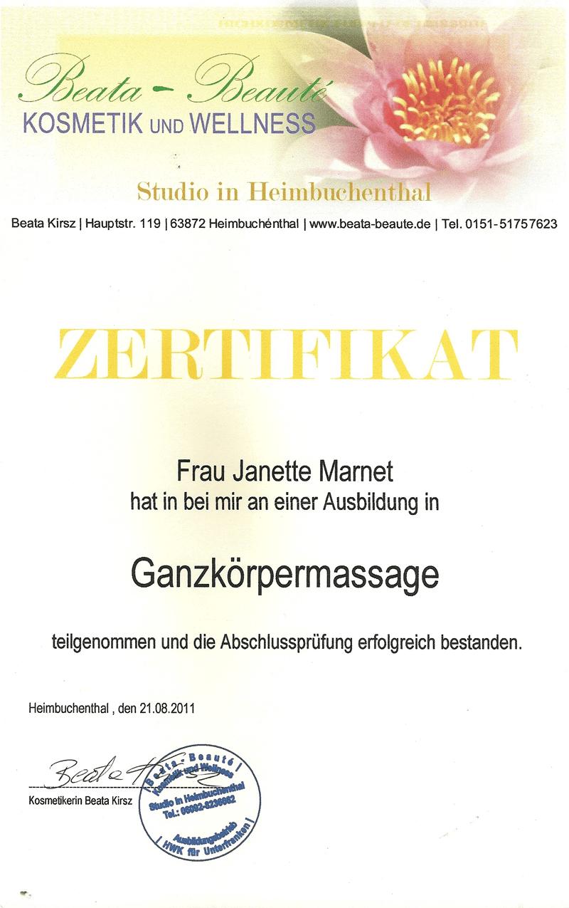 Zertifikat: Ganzkörpermassage