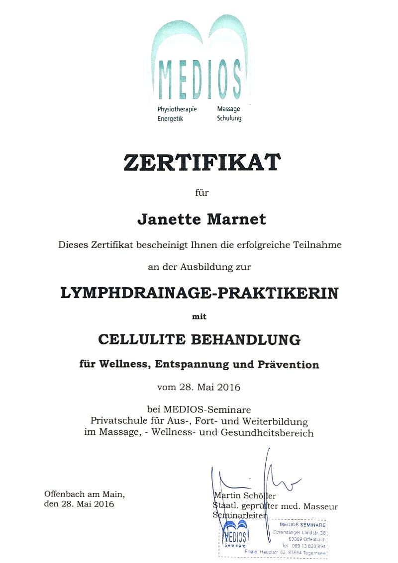 Zertifikat: Lymphdrainage-Praktikerin mit Cellulite Behandlung für Wellness, Entspannung und Prävention